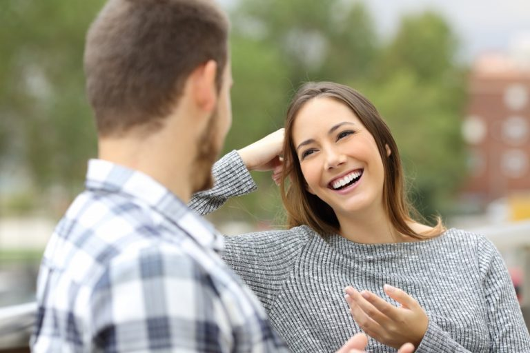 couple happily talking to each other