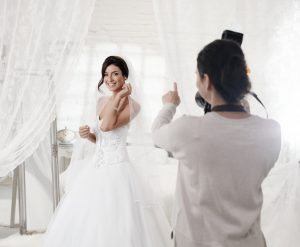 bride having her photo taken
