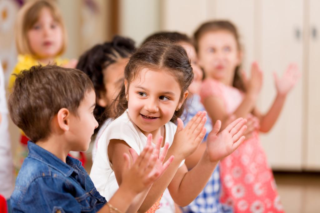 kids interacting at school