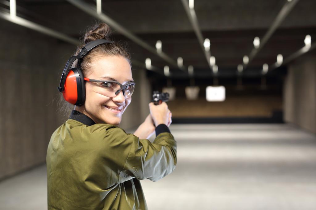 woman in shooting range